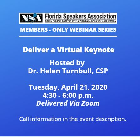 FSA Webinar Deliver a Virtual Keynote